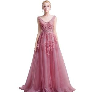 Dresses & Skirts - Tulle Appliqué Long Dusty Pink Prom Bridesmaid